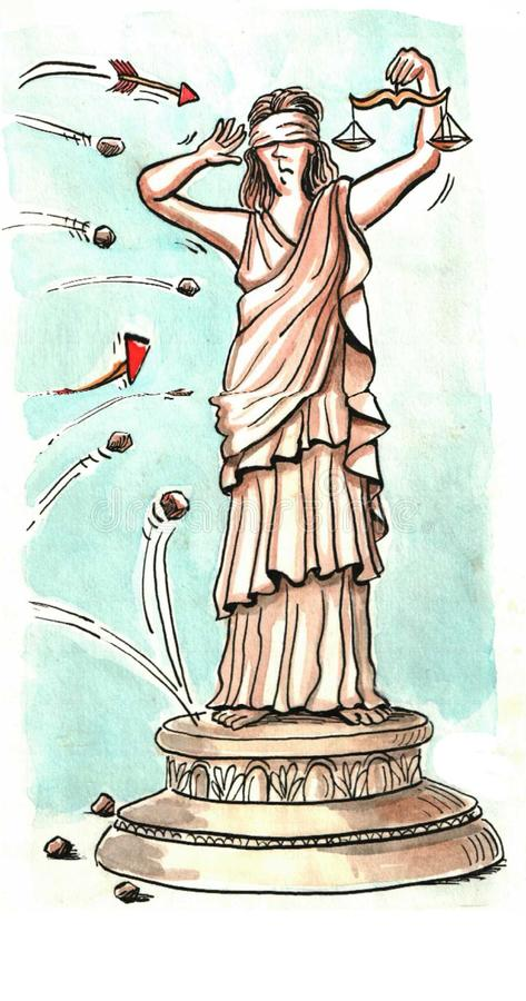 Justice. Is challenged from every side stock illustration