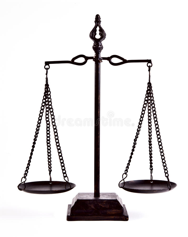 Justice balance. Isolated on white
