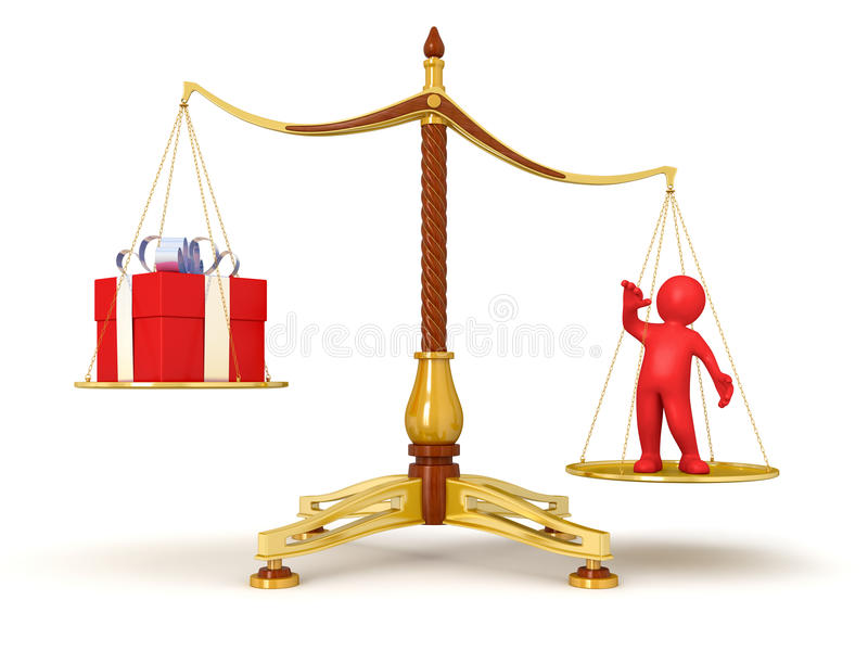 Download Justice Balance  With Gift And Man (clipping Path Included) Stock Illustration - Illustration: 34030656