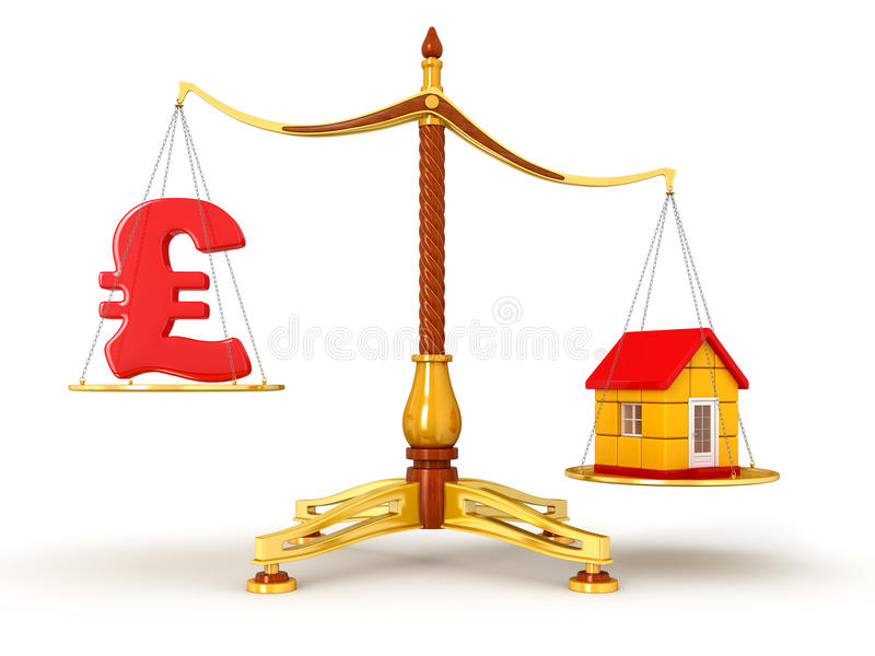 Download Justice Balance  With Pound And House (clipping Path Included) Stock Illustration - Image: 34268820