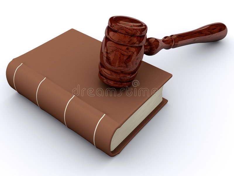 Justice book. A book and a hammer justice on white background - 3d render