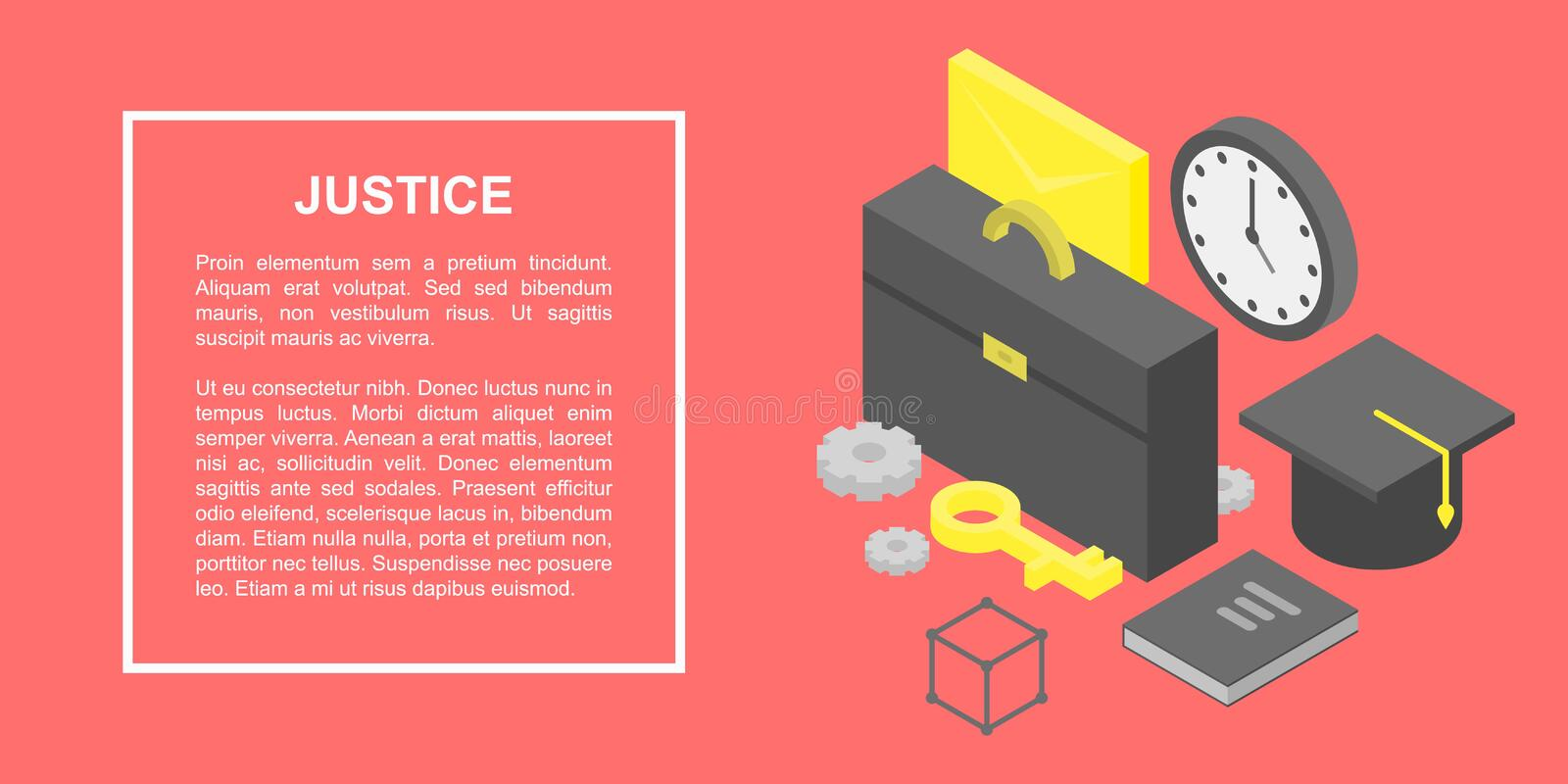 Justice concept banner, isometric style royalty free illustration