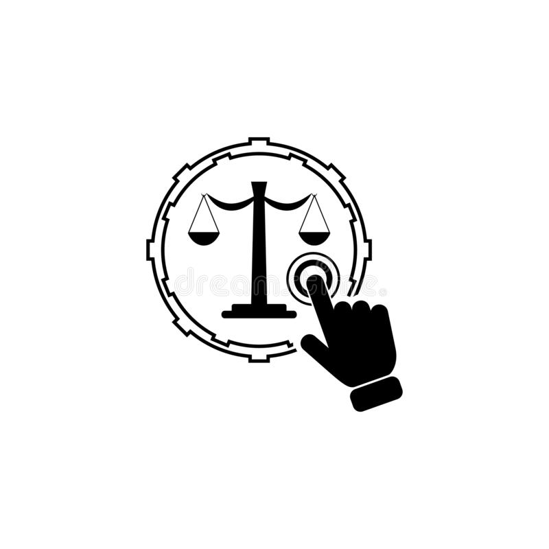 Justice concept on touch screen icon. Element of touch screen technology icon. Premium quality graphic design icon. Signs and symb. Ols collection icon for royalty free illustration
