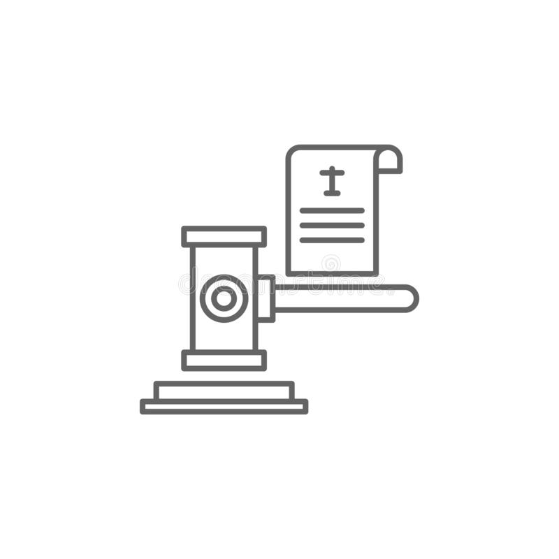 Justice court outline icon. Elements of Law illustration line icon. Signs, symbols and vectors can be used for web, logo, mobile. App, UI, UX on white stock illustration
