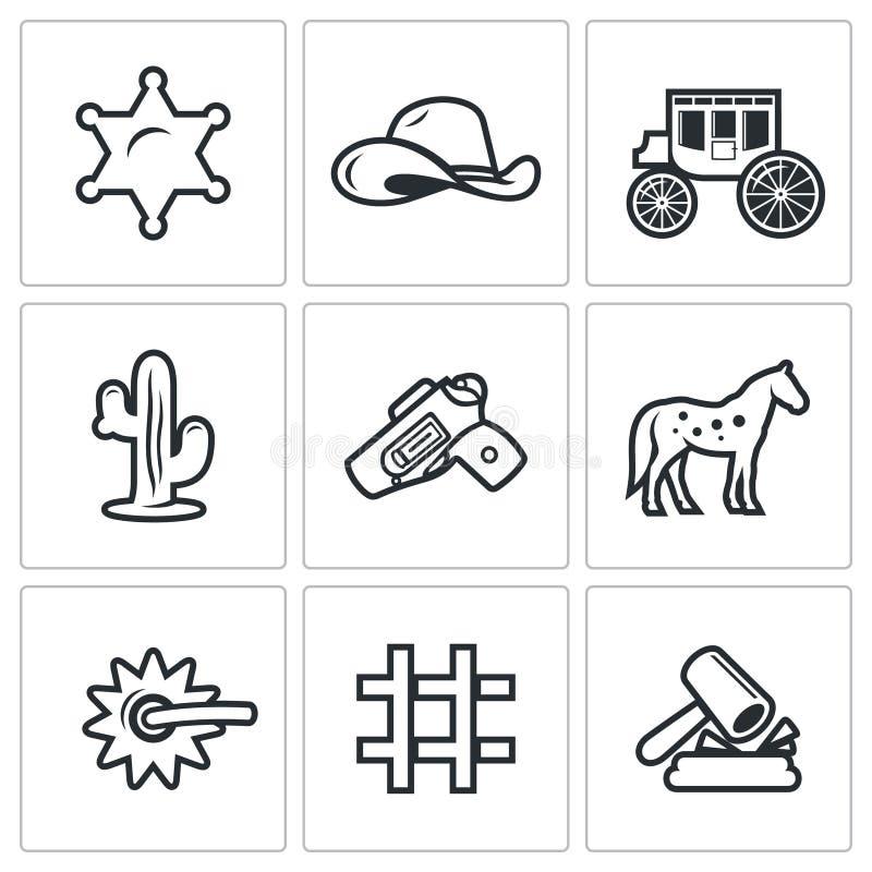 Justice dans les icônes occidentales sauvages réglées Illustration de vecteur illustration stock