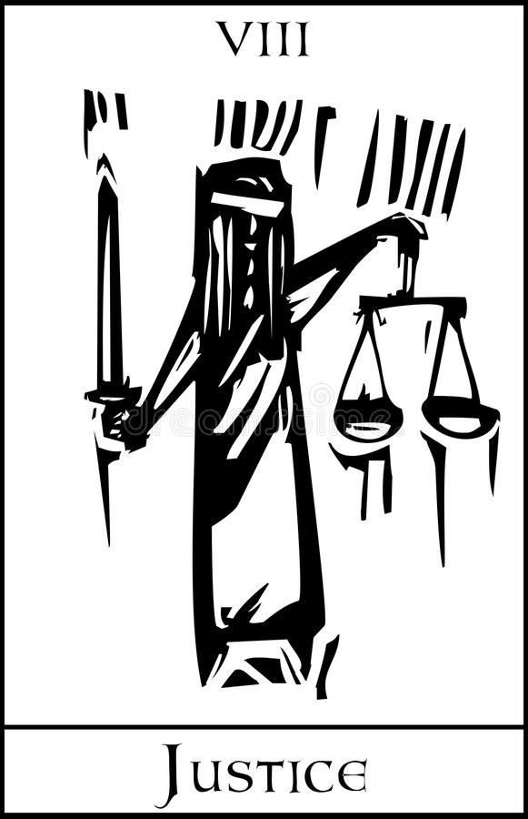 Justice de carte de tarot illustration stock