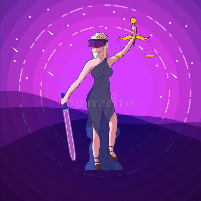 Justice Femida with scales, virtual reality glasses VR. And neon sword of justice - virtual justice concept - vector illustration on pink background stock illustration