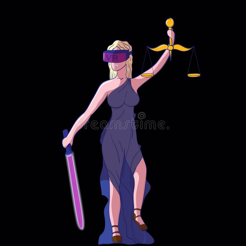 Justice Femida with scales, virtual reality glasses VR. And neon sword of justice - virtual justice concept - vector illustration royalty free illustration
