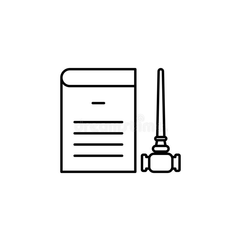 Justice, gavel icon. Element of law and justice icon. Thin line icon for website design and development, app development. Premium stock illustration