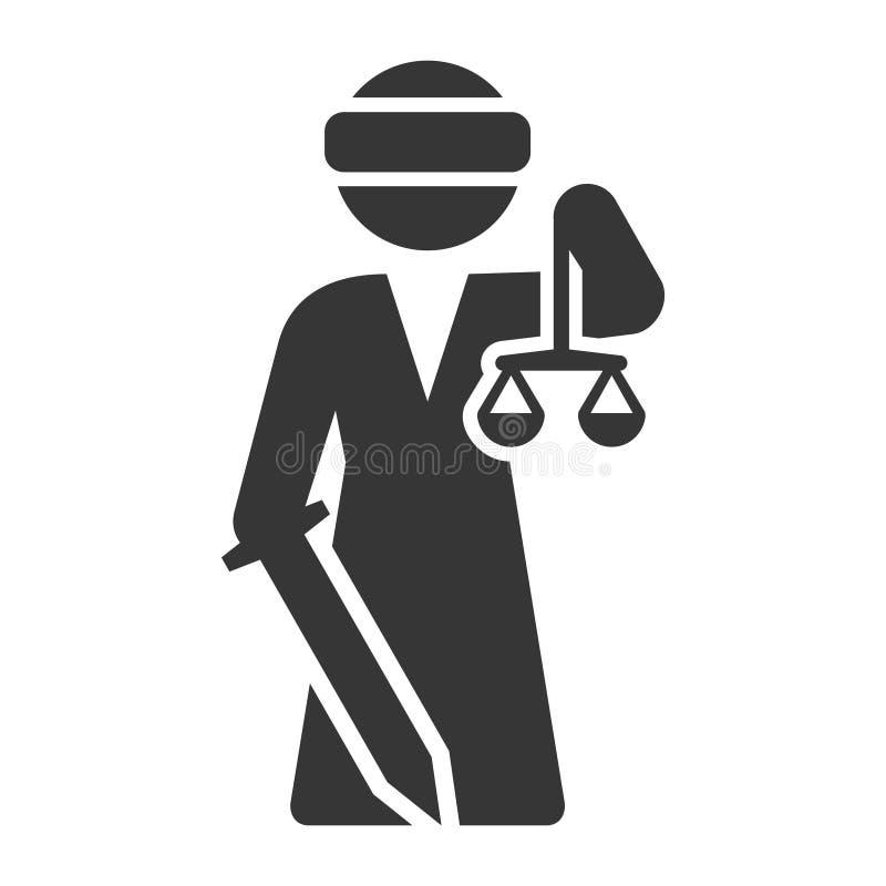 Justice Goddess Lady Femida Icon on White Background. Vector. Illustration stock illustration