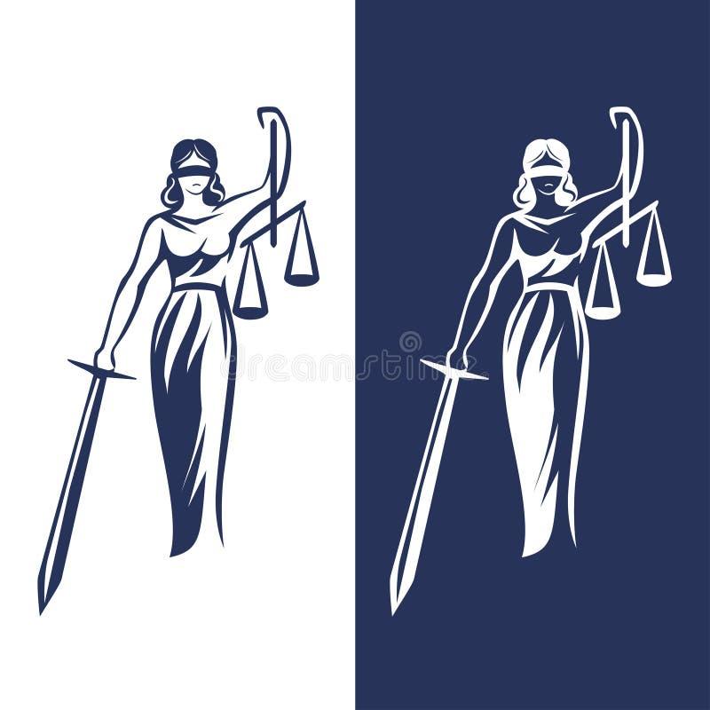 Lady justice statue stock illustration