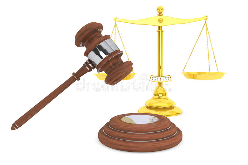 Download Justice Gold Scale And Wooden Gavel Stock Photo - Image: 26788150