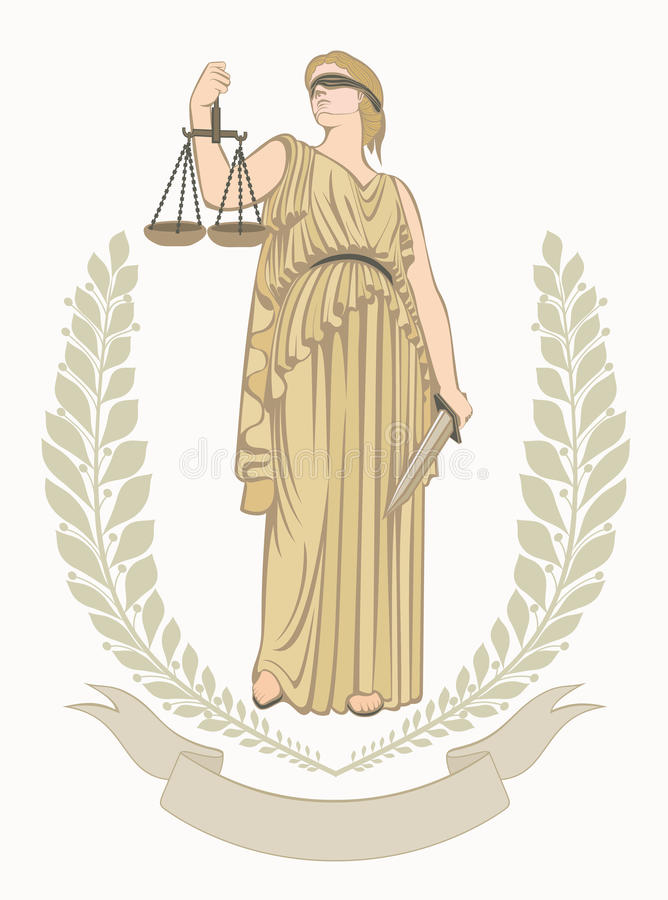 lady justice.Greek goddess Themis.Equality . fair trial.Law. stock illustration