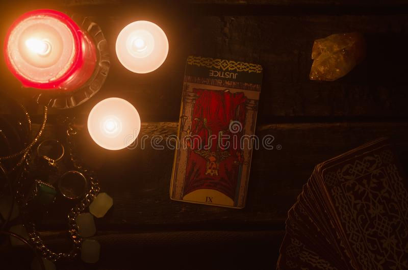 Justice inverted Tarot card. Fortune teller. Future reading stock photos