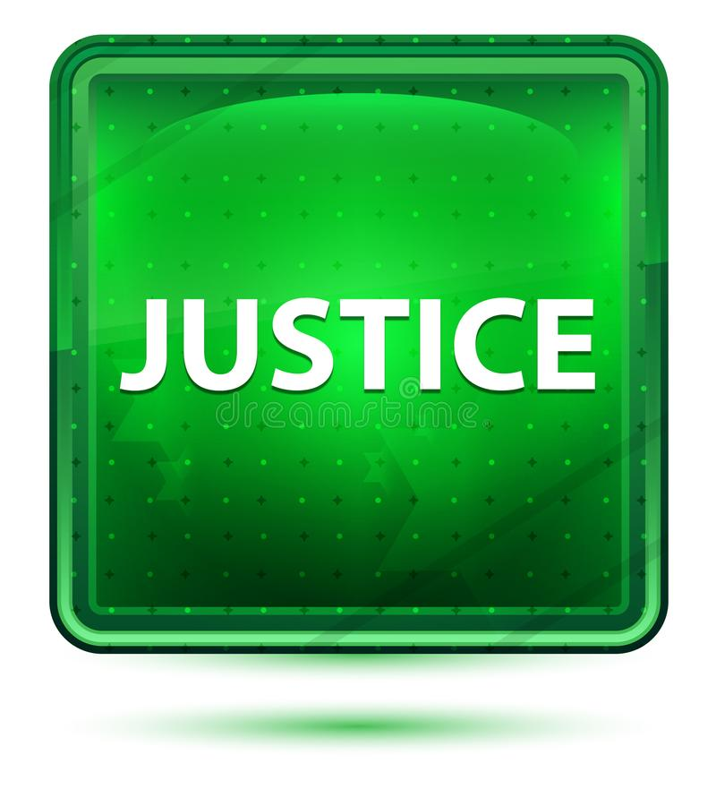 Justice Neon Light Green Square Button royalty free illustration