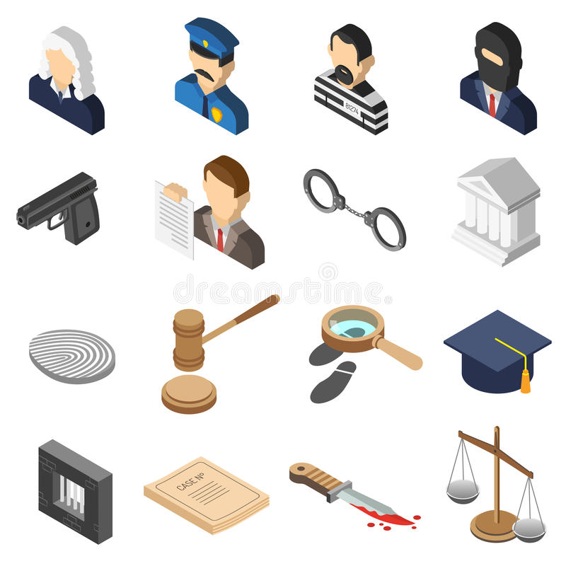 Justice Isometric Color Icon Set vector illustration