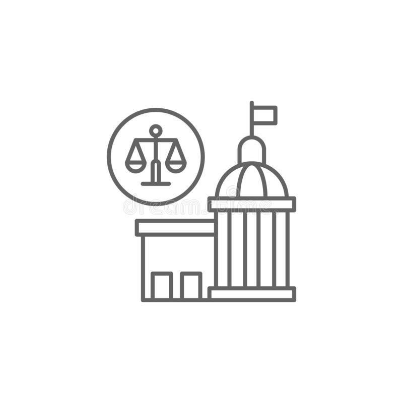 Justice justice court outline icon. Elements of Law illustration line icon. Signs, symbols and s can be used for web, logo,. Mobile app, UI, UX on white stock illustration