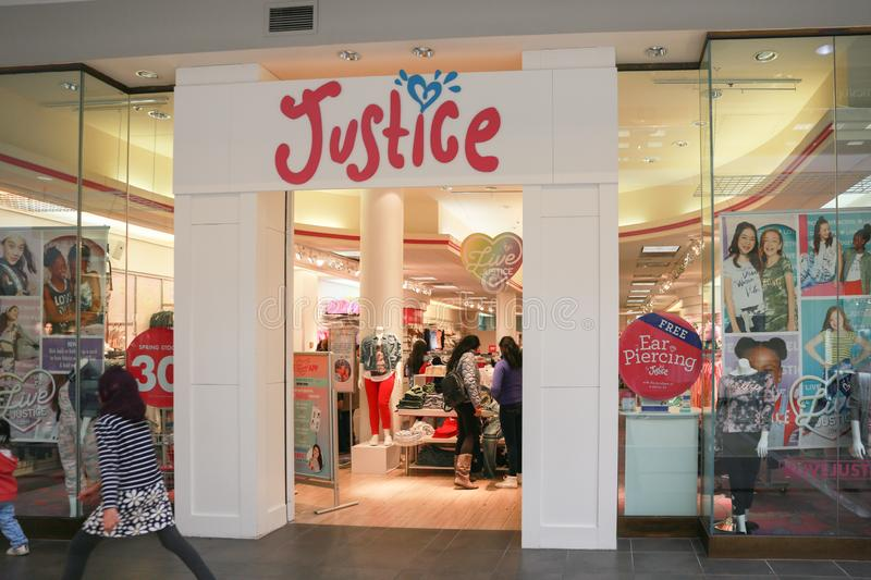 Justice Kids Clothing store front. Lawrence Township New Jersey, February 24, 2019:Justice Kids Clothing store at Quaker Bridge Mall royalty free stock photo