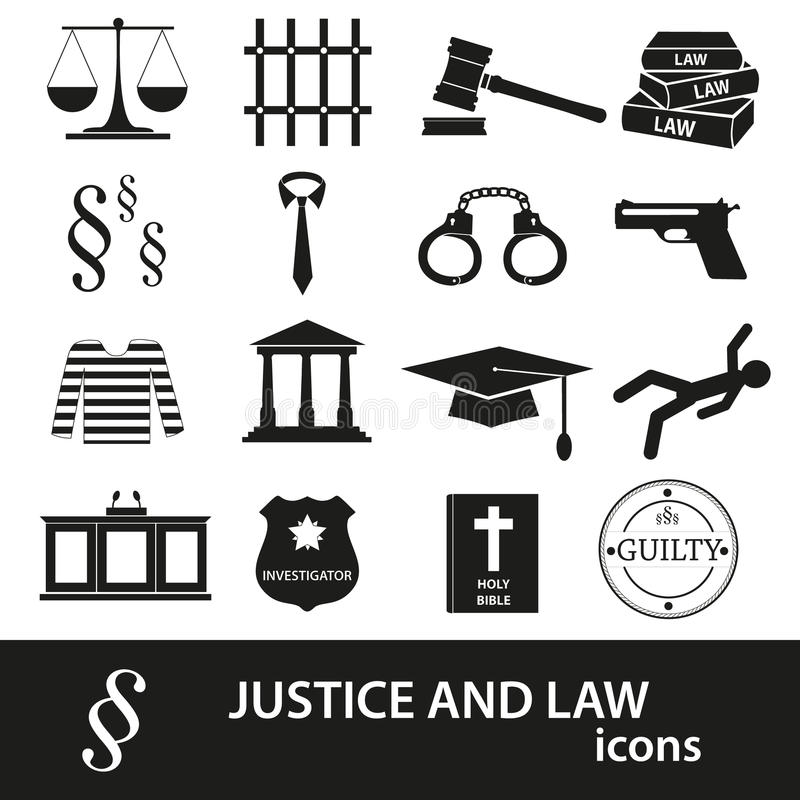 Justice and law black icons set royalty free illustration