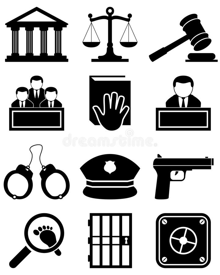 Justice Law Black & White Icons. Collection of 12 black and white justice, law and order icons, isolated on white background. Eps file available