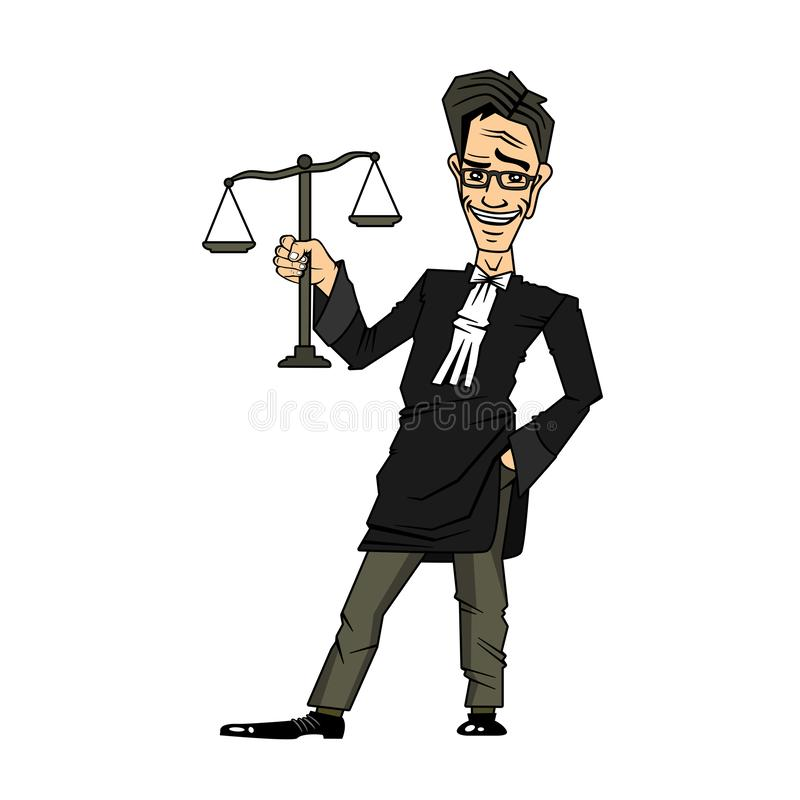 Justice and Law Cartoon Character holding the Scales of Justice stock photos