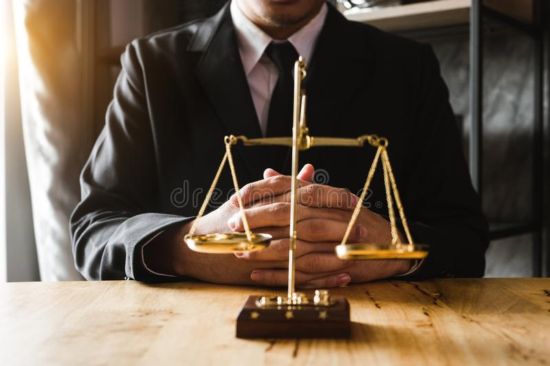 Justice and law concept.Lawyer workplace stock photos