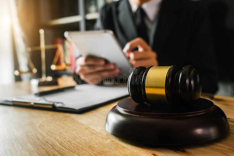 Law theme wooden desk, books, balance. Law concept. royalty free stock photos