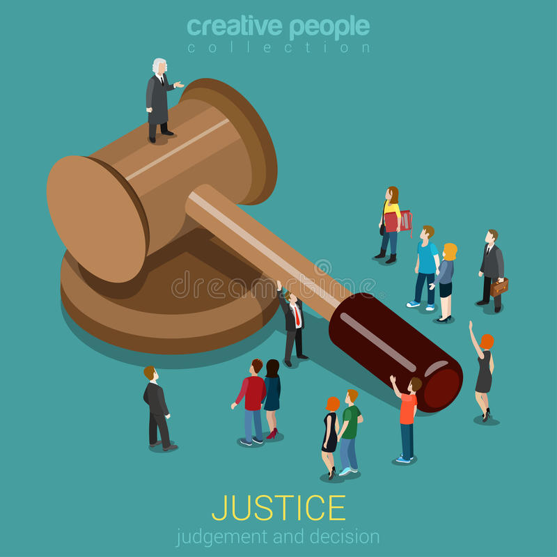 Justice and law, judgment and decision flat 3d isometric concept vector illustration