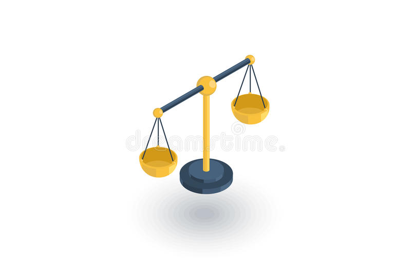 Justice and law symbol, scales isometric flat icon. 3d vector stock illustration