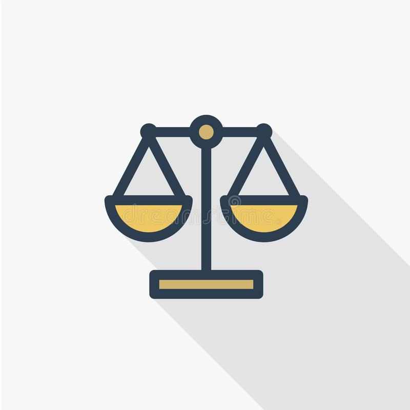 Justice and law symbol, scales thin line flat color icon. Linear vector symbol. Colorful long shadow design. royalty free illustration