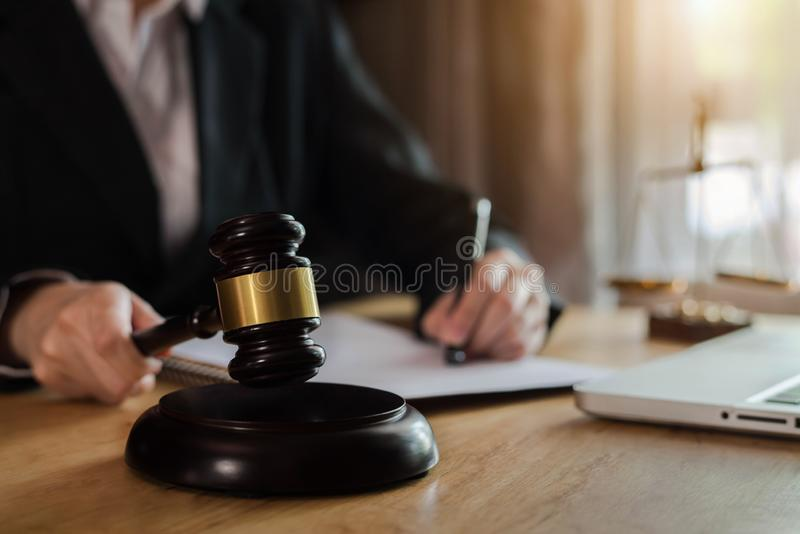Justice lawyer advice with gavel and scales of justice, concepts of law at office. stock image
