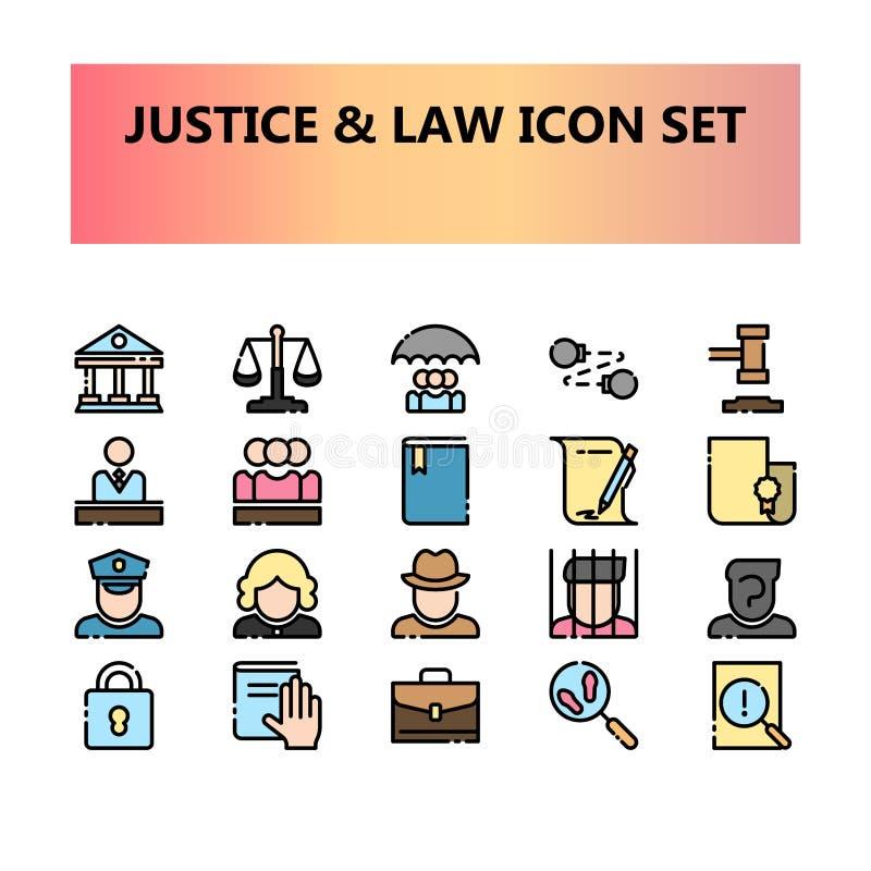 Justice, loi et icônes parfaites de pixel juridique réglées dans le contour rempli illustration libre de droits