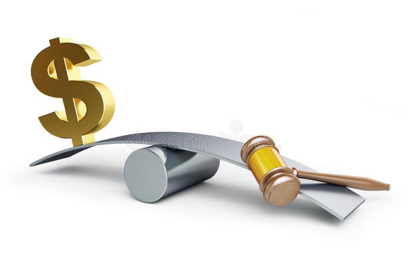 Justice ou argent illustration de vecteur