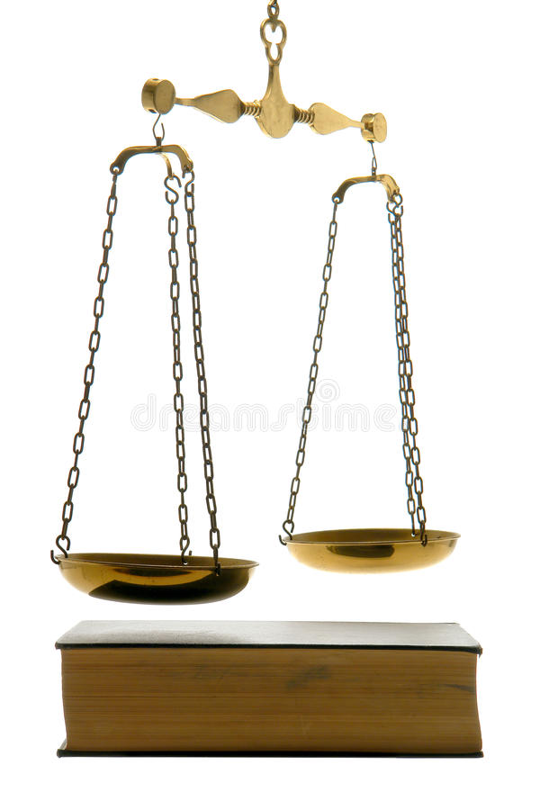 Free Justice Scale And Old Law Book Isolated On White Royalty Free Stock Image - 16446026