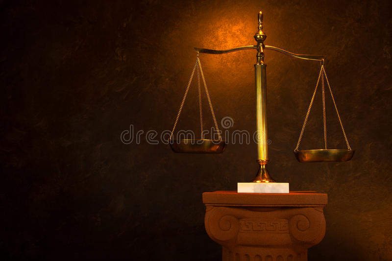 Justice scale on Greek Column. Scales of Justice on Greek Column royalty free stock images