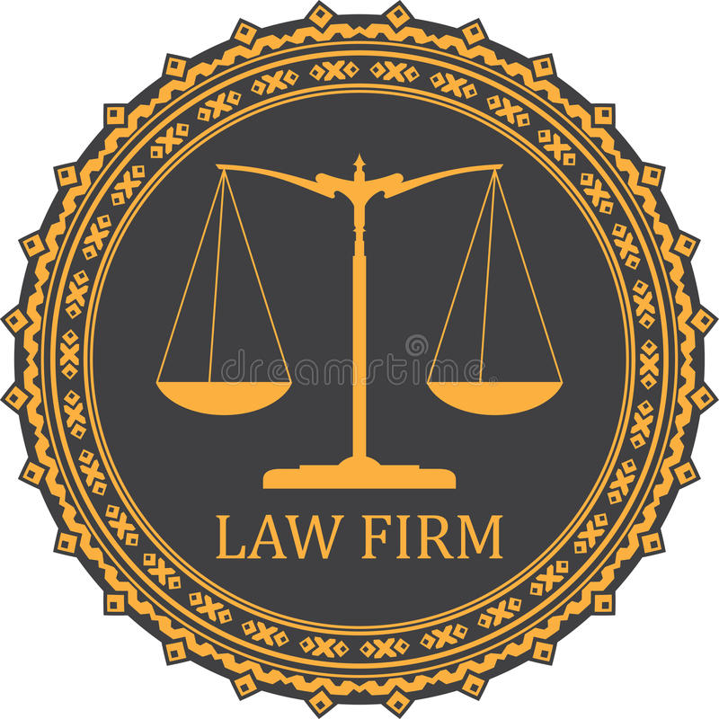 Justice scale icon with caption LAW FIRM.  vector illustration