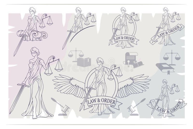 Justice Set. Femida -lady of justice. Lady Lawyer logo. royalty free illustration