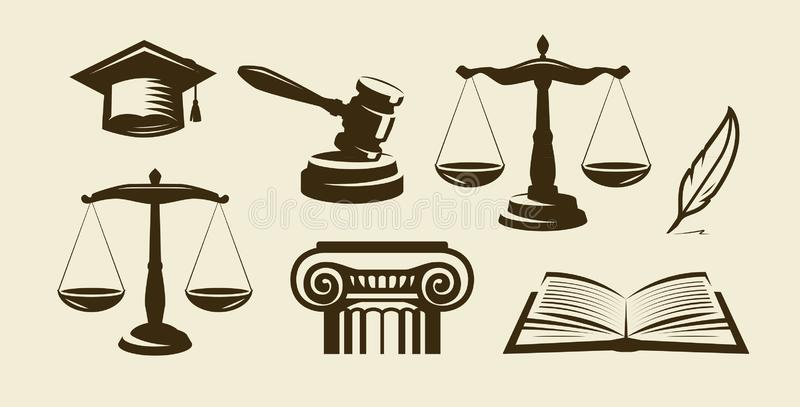 Justice set of icons. Lawyer, advocate, law symbol. Vector illustration. Justice set of icons. Lawyer, advocate, law symbol Vector vector illustration