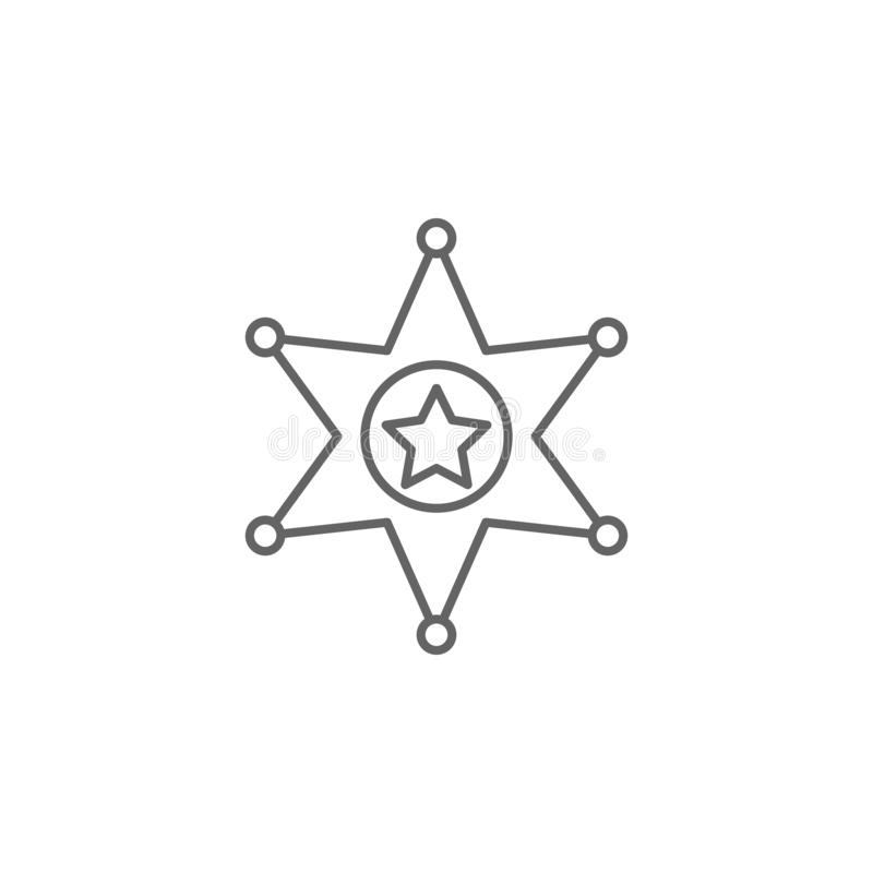 Justice sheriff outline icon. Elements of Law illustration line icon. Signs, symbols and s can be used for web, logo, mobile stock illustration