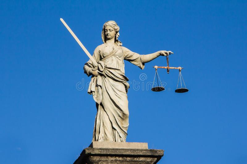 Lady justice statue. Justice statue at Dublin castle in Ireland royalty free stock images