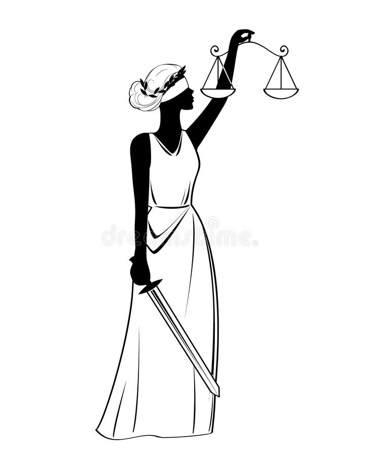Justice statue icon, illustration, black sign on isolated background royalty free illustration