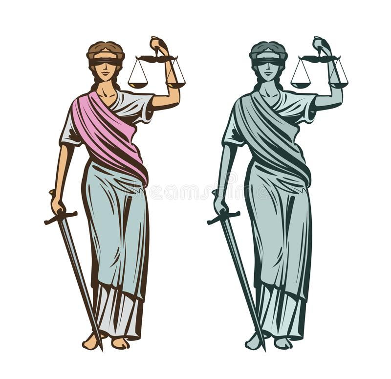 Judiciary symbol. Lady justice with blindfold, scales and sword in hands. Vector illustration vector illustration