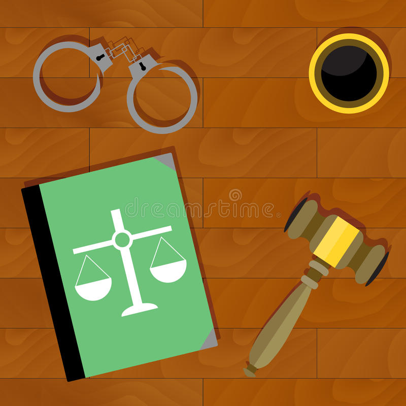 Justice is top view. Handcuffs and book, law and legal illustration vector vector illustration