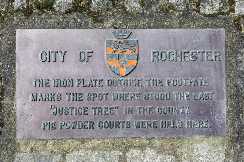 Justice Tree Plaque in Rochester, UK. ROCHESTER, UK - APRIL 22ND 2017: A plaque marking the location where the last Justice Tree in the County once stood, in the stock photo