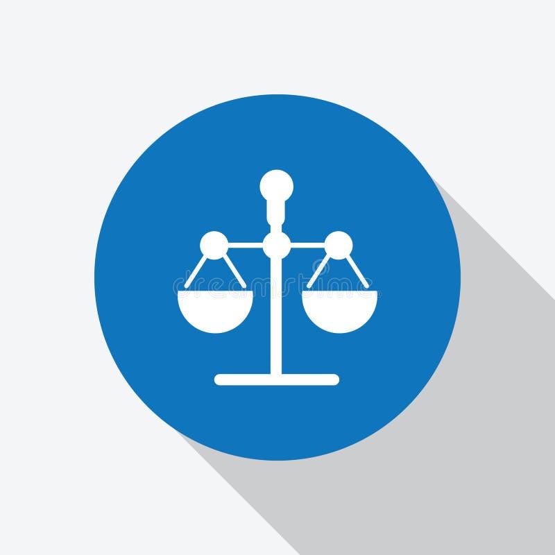 Justicia blanca, icono de la escala de la ley en c?rculo azul libre illustration