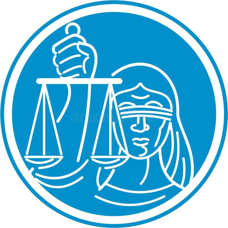 Justicia Circle de señora Blindfolded Hold Scales ilustración del vector