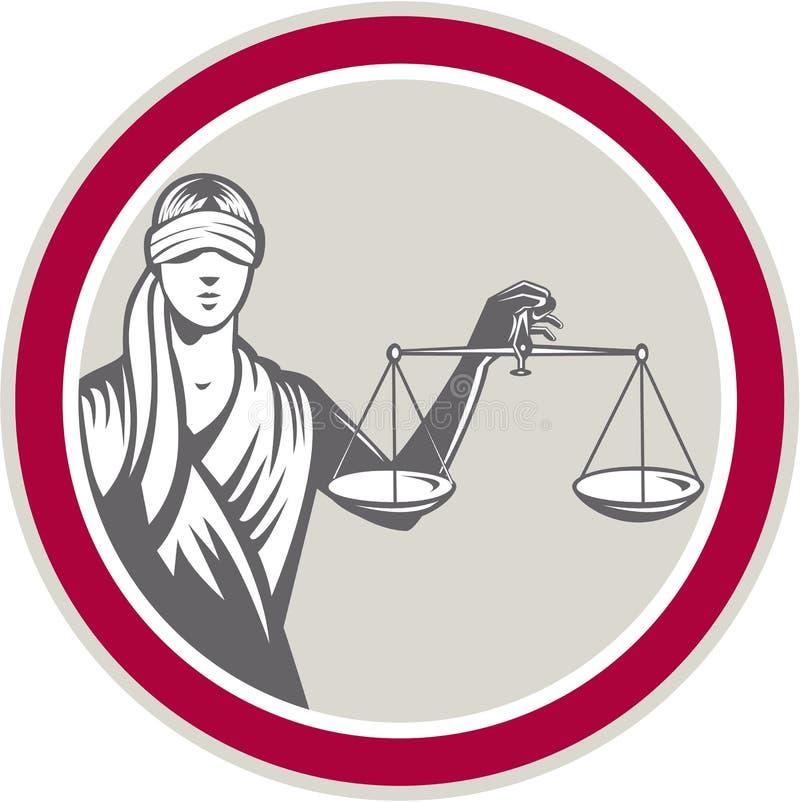 Justicia Circle de señora Blindfolded Holding Scales ilustración del vector