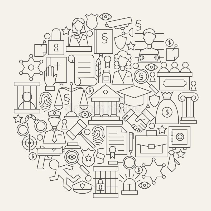Justicia de la ley y línea forma fijada iconos del crimen del círculo ilustración del vector