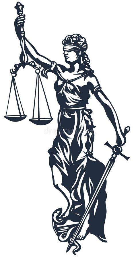 Justicia de la señora de Femida ilustración del vector