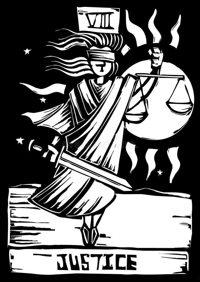 Justicia de la tarjeta de Tarot stock de ilustración